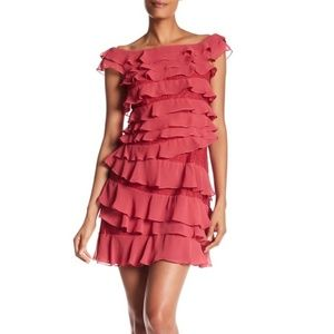 Adrianna Papell Tiered  Ruffle Chiffon  Dress